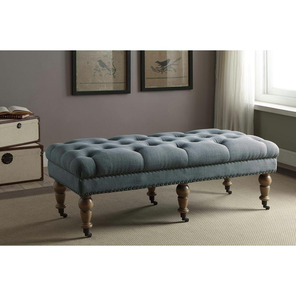 Linon Home Decor Isabelle Washed Blue Bench-368253BLU01U