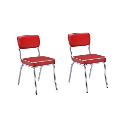 Retro Black Cushion Chrome and Red Side Chairs with (Set of 2)