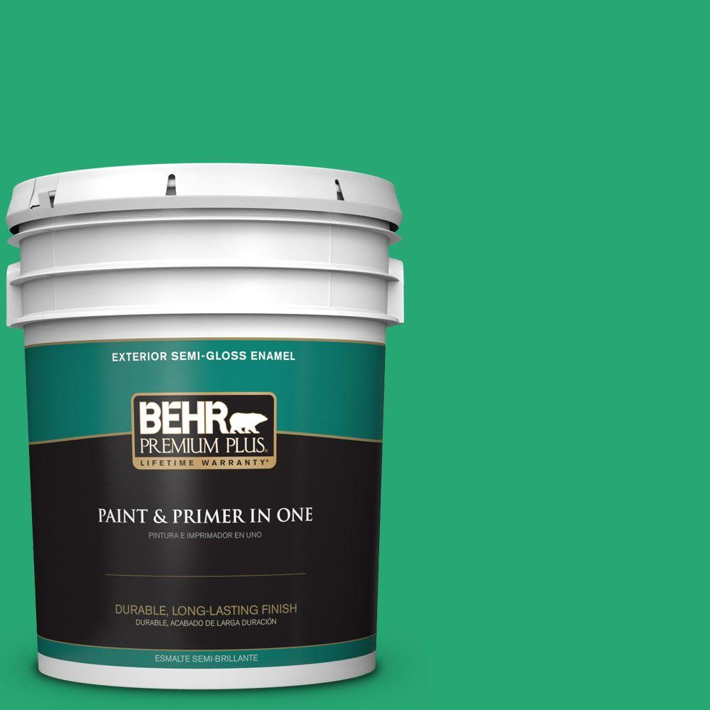BEHR Premium Plus 5-gal. #470B-5 Garden Medley Semi-Gloss Enamel Exterior Paint