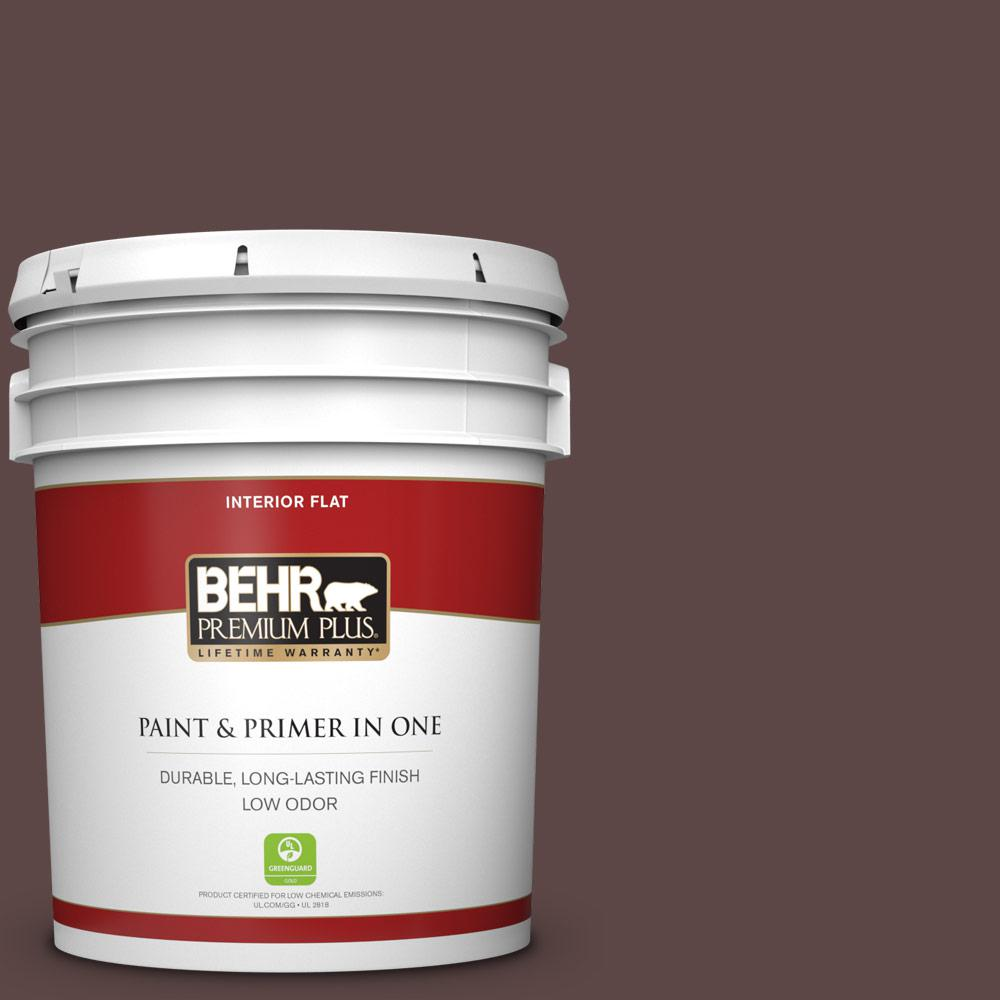 Reviews For Behr Premium Plus 5 Gal 730b 7 English Manor Flat Low Odor Interior Paint And Primer In One 130005 The Home Depot