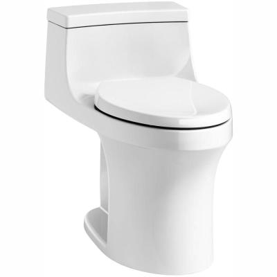 San Souci 1-piece 1.28 GPF Single Flush Elongated Toilet in White, Seat Included