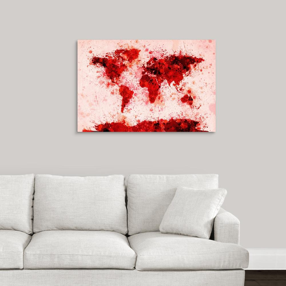 Greatcanvas World Map Paint Splashes Red By Michael Tompsett Canvas Wall Art