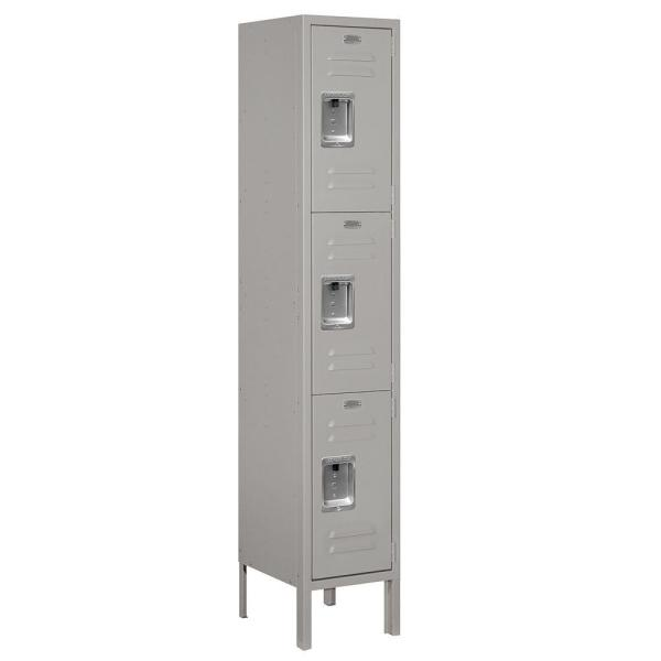 63000 Series 12 in. W x 66 in. H x 12 in. D - Triple Tier Metal Locker Unassembled in Gray