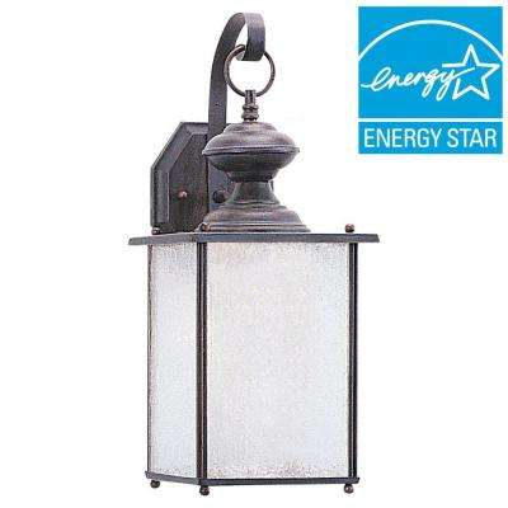 Jamestowne 1-Light Textured Rust Patina Outdoor Wall Mount Lantern