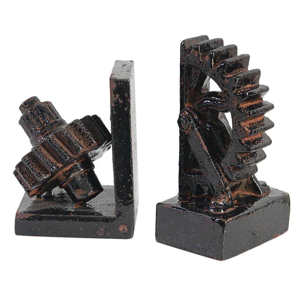 Decorative Gear Bookends (2 Pack