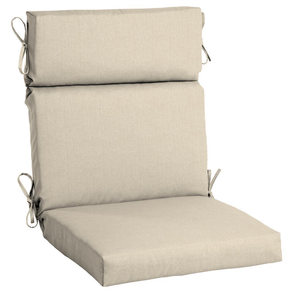 21.5 x 44 Sunbrella Canvas Flax High Back Outdoor Dining Chair Cushion