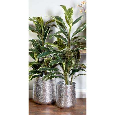Glossy Silver Aluminum And Iron Planters Set Of 3