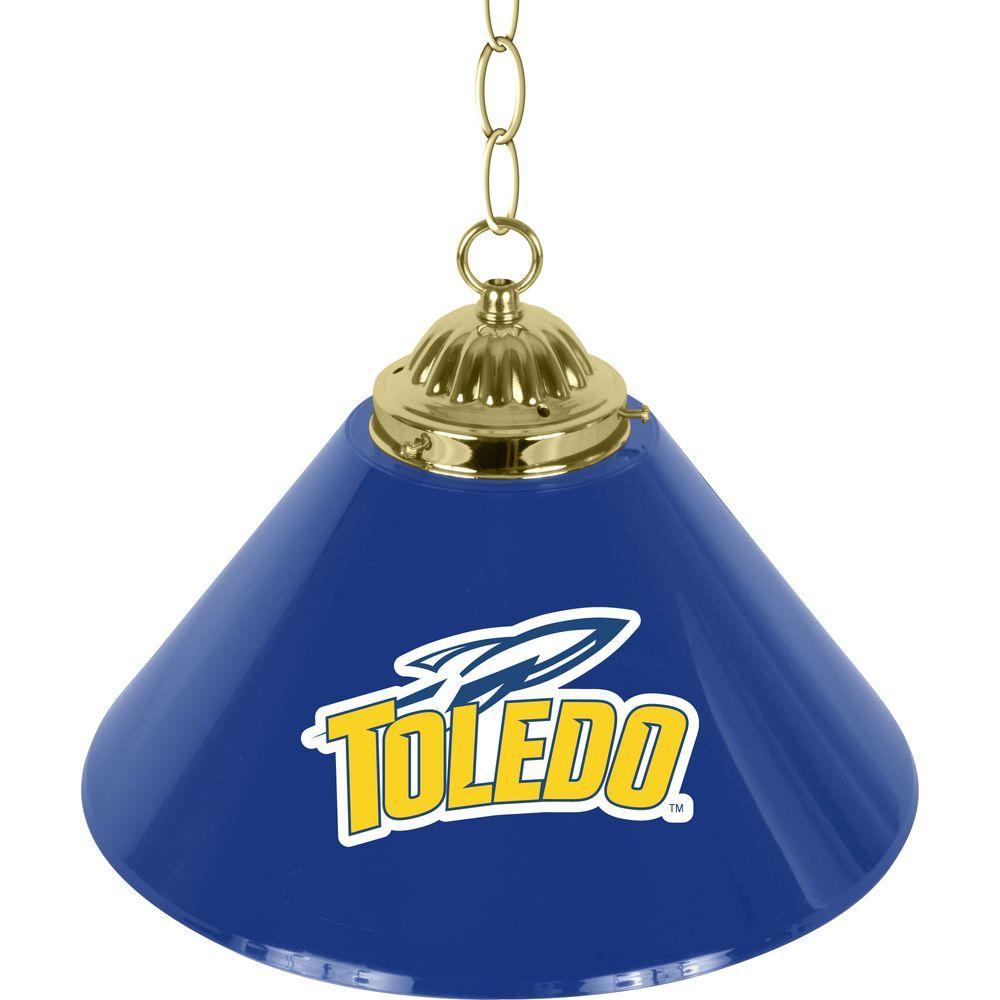 Trademark Global University of Toledo 14 in. Single Shade Stainless Steel Hanging Lamp