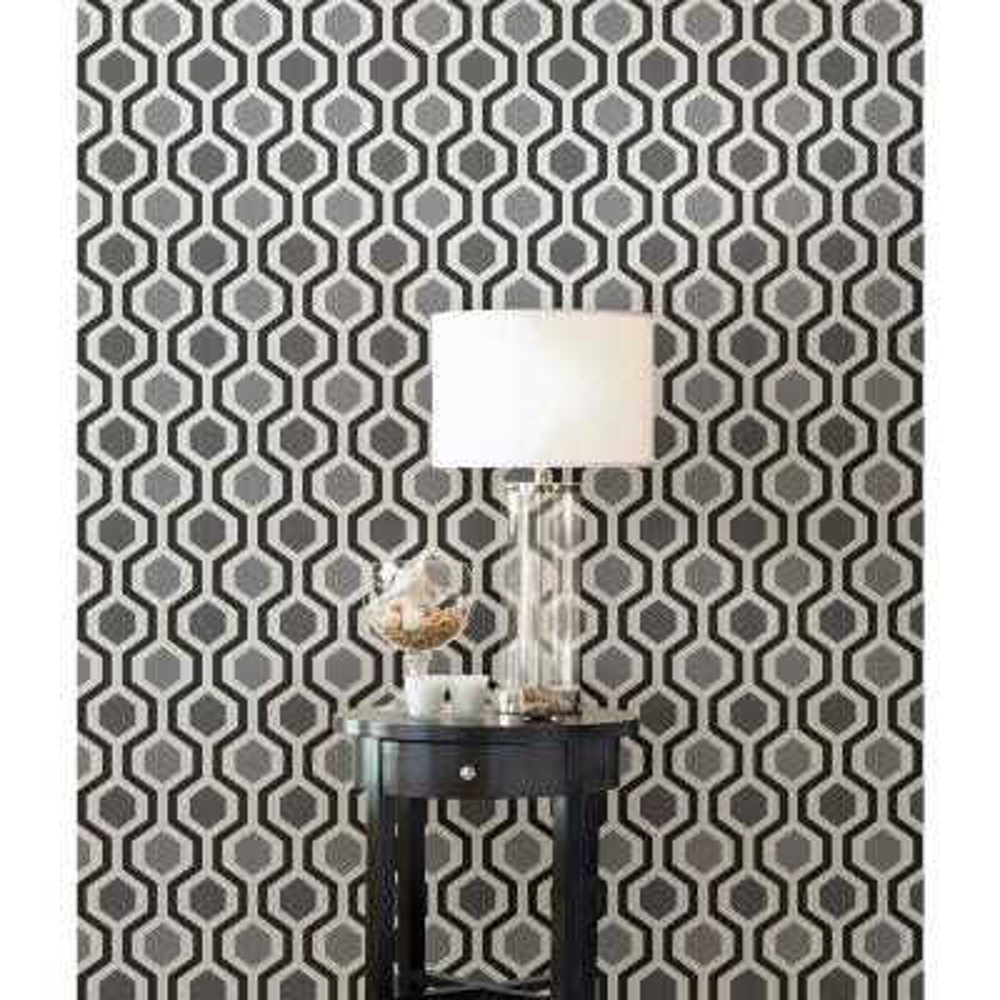 Marina Black Modern Geometric Wallpaper Sample