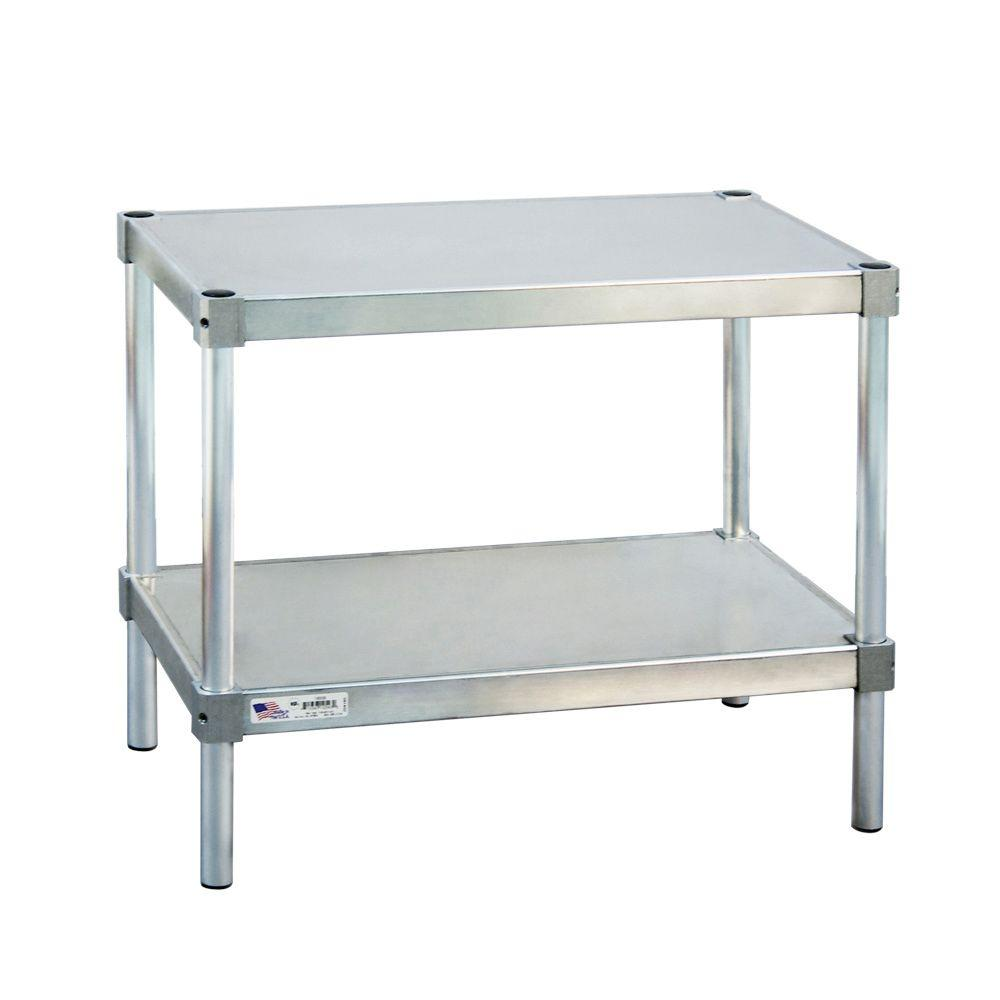 New Age Industrial 18 in. D x 48 in. L x 24 in. H 2-Shelf Aluminum Equipment Stand
