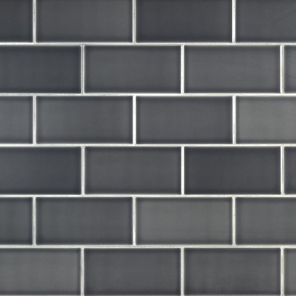 Ivy Hill Tile Magnitude Dark Gray 4 in. x 8 in. x 7.5mm Polished Ceramic Subway Wall Tile (68 pieces / 14.63 sq. ft. / box)