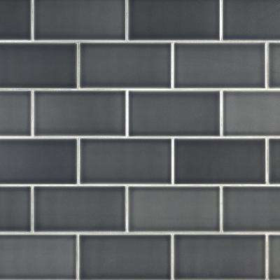 Magnitude Dark Gray 4 in. x 8 in. x 7.5mm Polished Ceramic Subway Wall Tile (68 pieces / 14.63 sq. ft. / box)