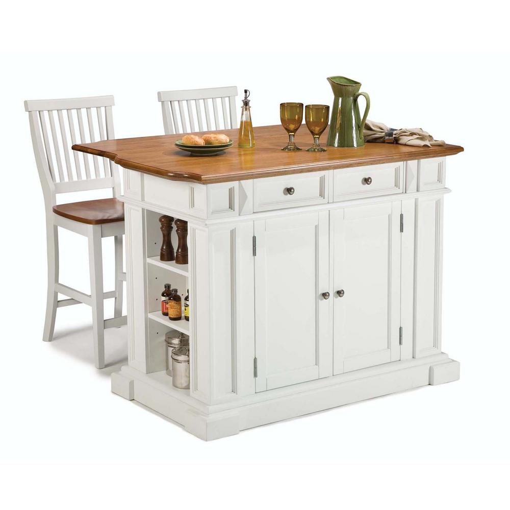 HomeStyles HOMESTYLES 24 in. White Bar Stool, Distressed oak and White