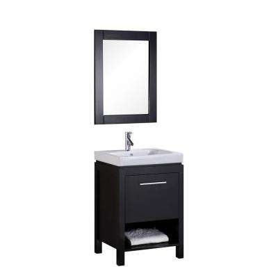 New York 24 in. W x 19 in. D Vanity in Espresso with Integrated Porcelain Vanity Top and Mirror in White
