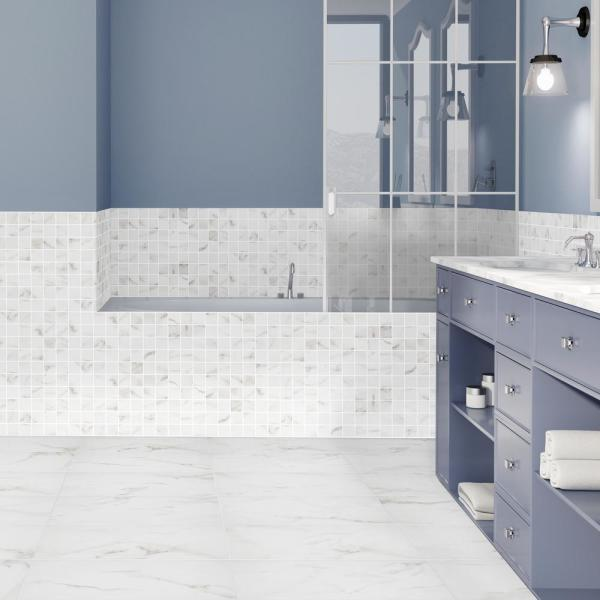 Florida Tile Home Collection Michelangelo Calacatta Rectified 12 In X 24 In Porcelain Floor And Wall Tile 13 3 Sq Ft Case Chdezen1012x24 The Home Depot