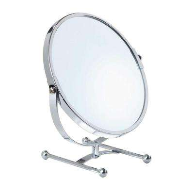 7.9 in. L x 4.7 in. W 5X Vanity Counter Mirror in Chrome