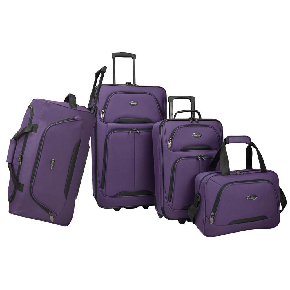 U.S Traveler Vineyard 4-Piece Softside Luggage Set, Purple