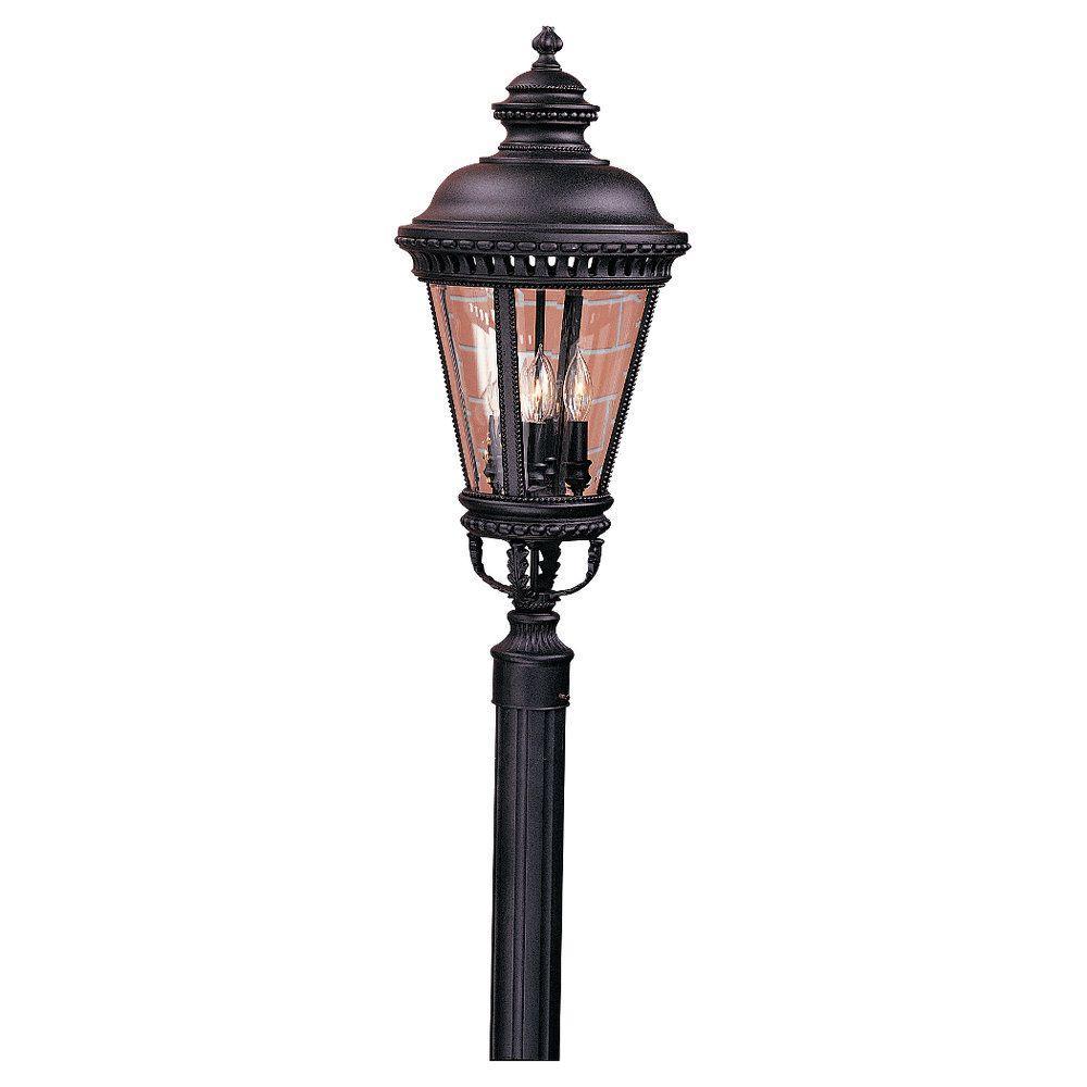 Castle 4-Light Black Outdoor Post Light