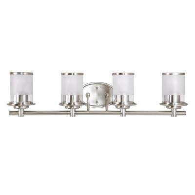 4-Light Brushed Nickel Vanity Light with combination Clear and Etched Glass Shades