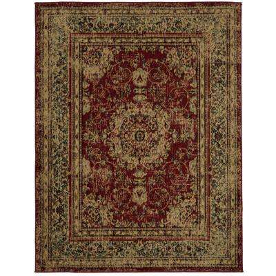 Royal Collection Red Distressed Medallion Design 5 Ft 3 In X 7
