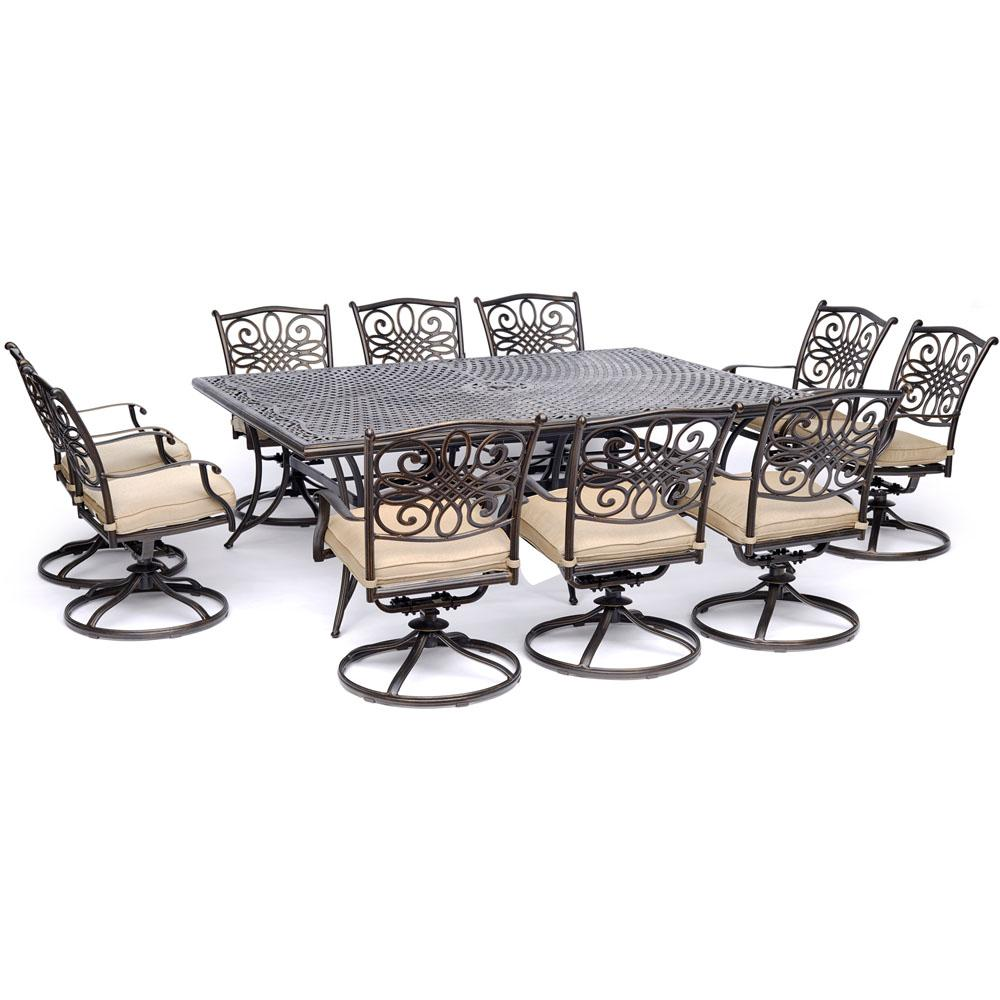 Hanover Dining Set Swivel Rockers Tan Cushions