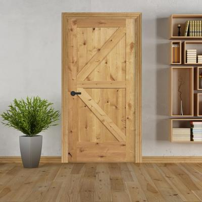 30 in. x 80 in. K Frame Unfinished Barn Door Style Knotty Alder Single Prehung Interior Door