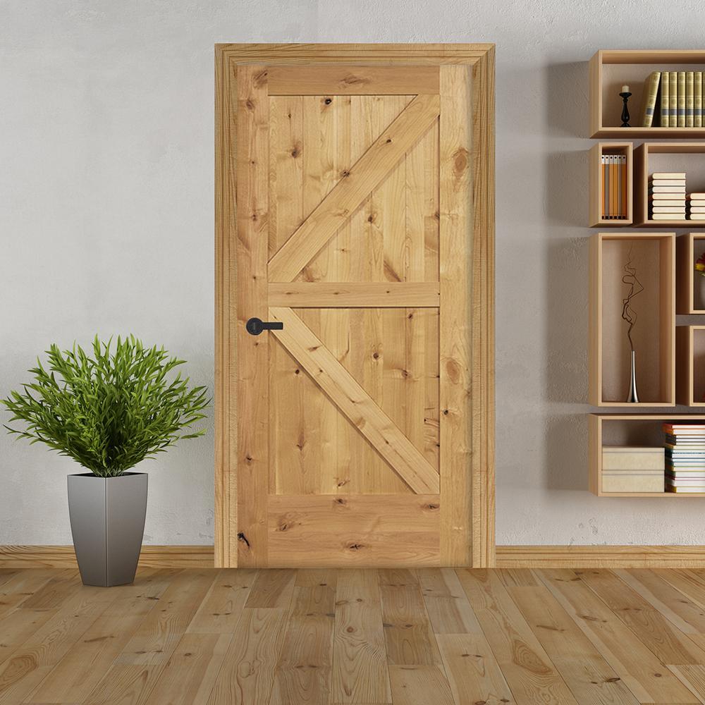 32 in. x 80 in. K Frame Unfinished Barn Door Style Knotty Alder Single Prehung Interior Door