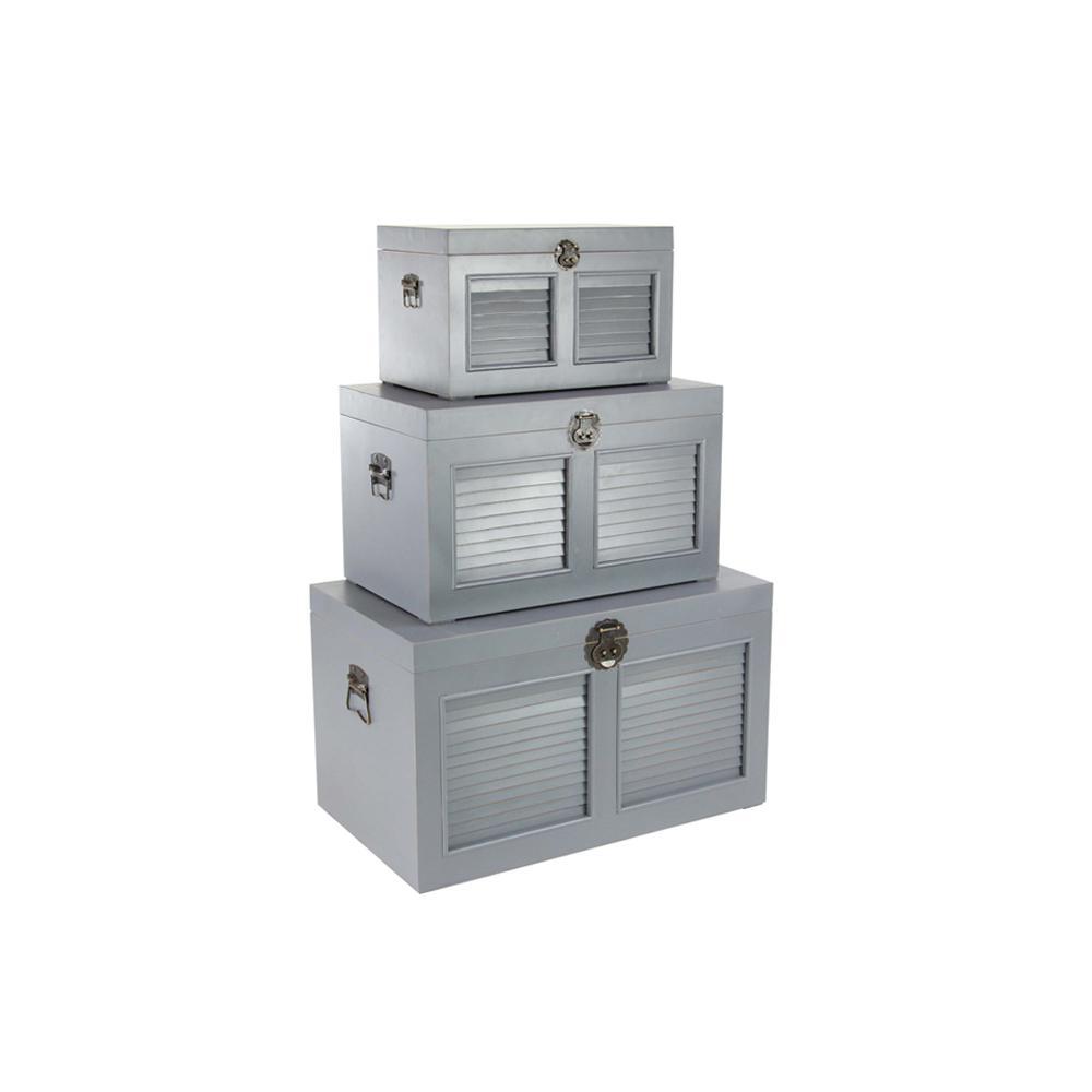 Gray Rectangular Louvered Wooden Trunks (Set of 3)