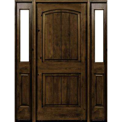 58 in. x 80 in. Rustic Alder Arch Provincial Stained Wood with V-Groove Right Hand Single Prehung Front Door