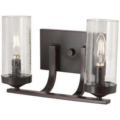 Elyton 2-Light Downtown Bronze with Gold Highlights Bath Light with Clear Seedy Glass