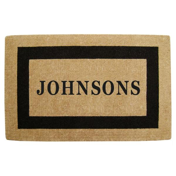 Single Picture Frame Black 30 in. x 48 in. HeavyDuty Coir Personalized Door Mat