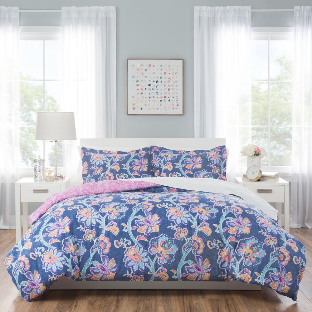 Nicole Miller Kids 5 Piece Twin Blue Fl Comforter Set T Aur 309 The Home Depot
