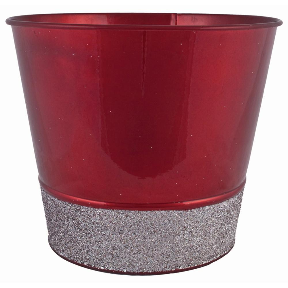 Glitter 7 in. Dia. Red Tin Pot