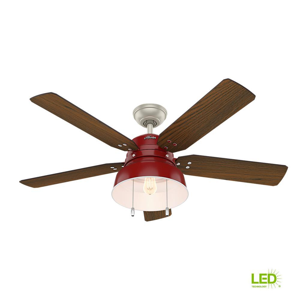 Led indoor outdoor barn red ceiling fan with light