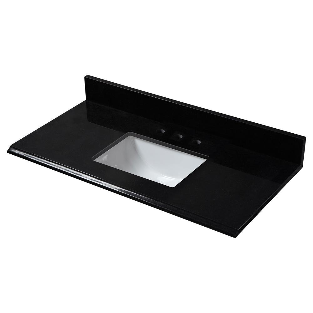 37 in. W Granite Single Trough Sink Vanity Top in Midnight Black