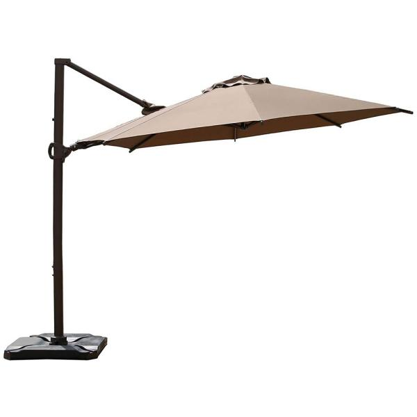 11.5 ft. 360-Degree Rotating Aluminum Cantilever Patio Umbrella with Base Weight in Cocoa