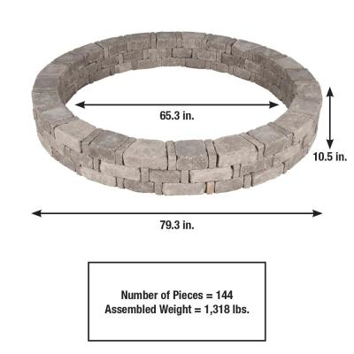 Rumblestone 79.3 in. x 10.5 in. Concrete Tree Ring Kit in Greystone