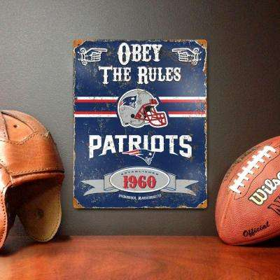 14.5 in. H x 11.5 in. D Heavy Duty Steel New England Patriots Embossed Metal Sign Wall Art