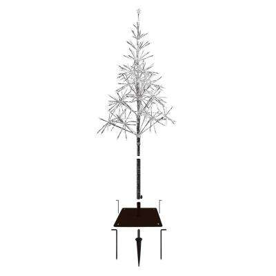 25 in. x 25 in. x 53/61 in. Festive Silver Artificial Christmas Tree with LED Lights