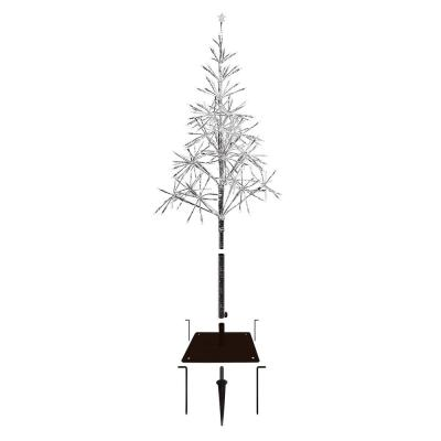 53 in. Tall Indoor/Outdoor Artificial Christmas Tree with LED Lights, Silver