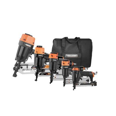 Pneumatic Framing and Finishing Nailers and Staplers Combo Kit with Canvas Bag and Fasteners (5-Piece)