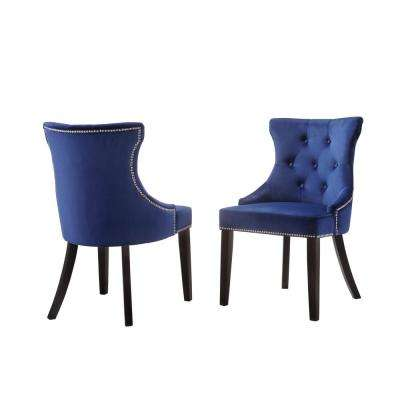 Julia Blue Velvet Upholstered Tufted Back Nail Head Chair Set Of 2