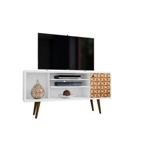Liberty 53.14 in. White and 3D Brown Print 5-Shelf TV Stand