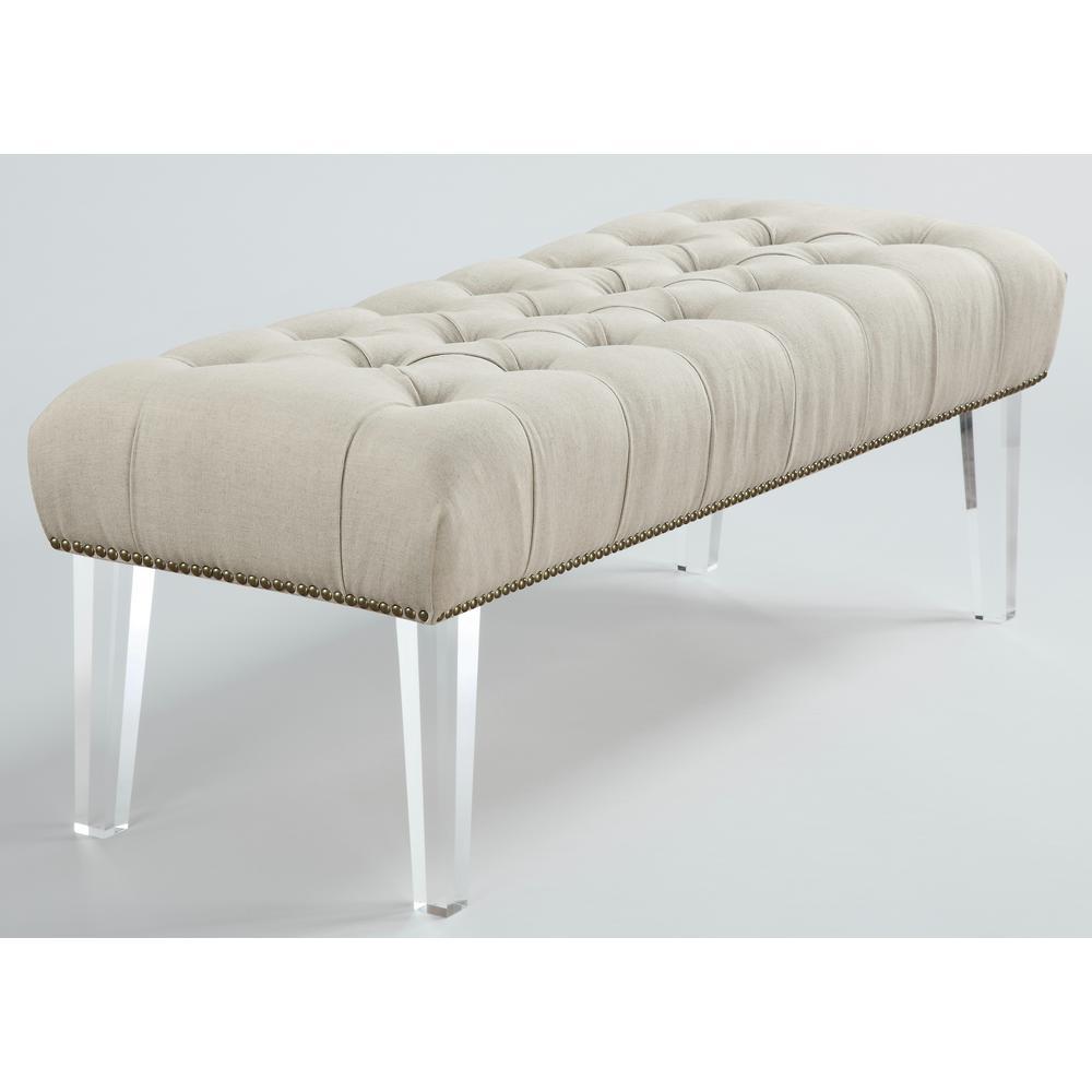 tov furniture stella beige linen lucite bench tov o18 the home depot. Black Bedroom Furniture Sets. Home Design Ideas