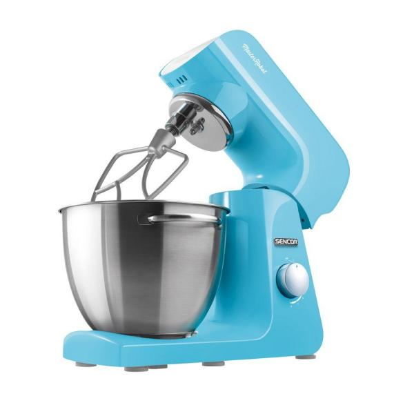 Sencor 4.75 Qt. 8-Speed Pastel Blue Stand Mixer with Beater, Whisk,