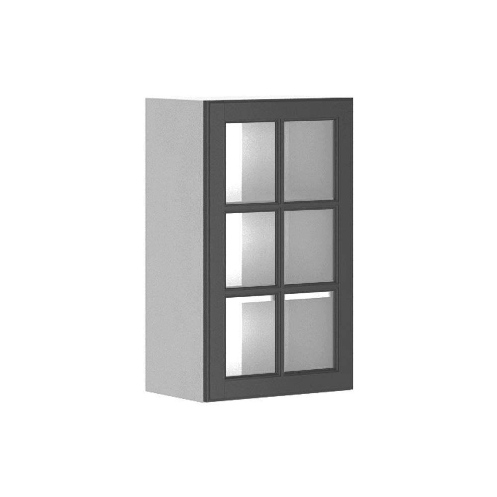 Fabritec Ready to Assemble 18x30x12.5 in. Buckingham Wall Cabinet in White Melamine and Glass Door in Gray