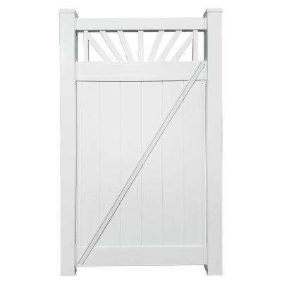 Annapolis 3.7 ft. W x 5 ft. H White Vinyl Privacy Fence Gate