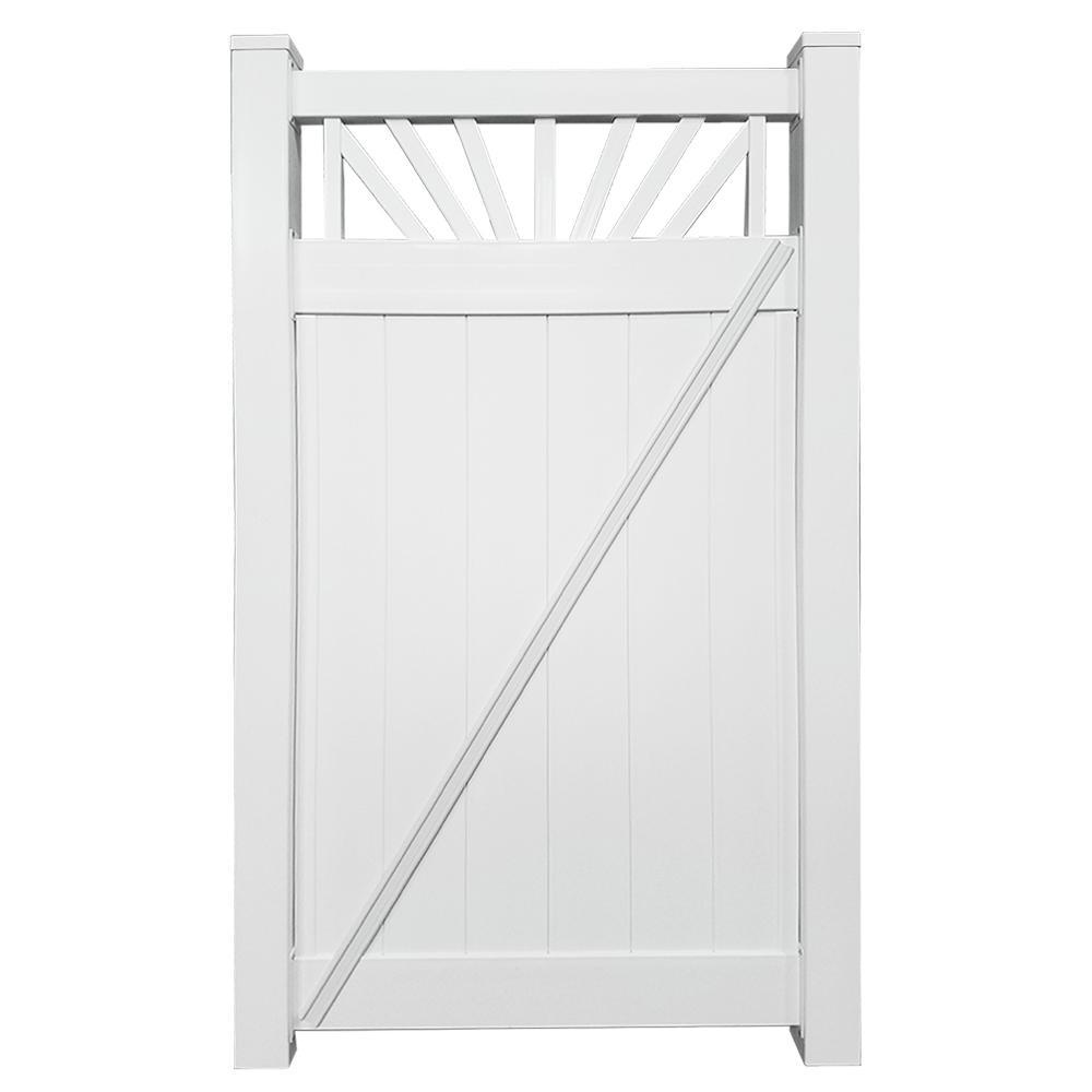 Annapolis 3.7 ft. W x 7 ft. H White Vinyl Privacy Fence Gate
