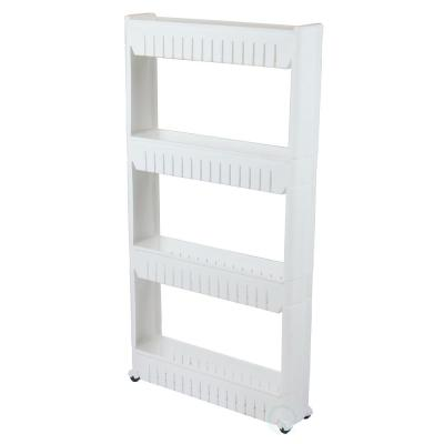 40 in. White Plastic 4-shelf Etagere Bookcase with Adjustable Shelves