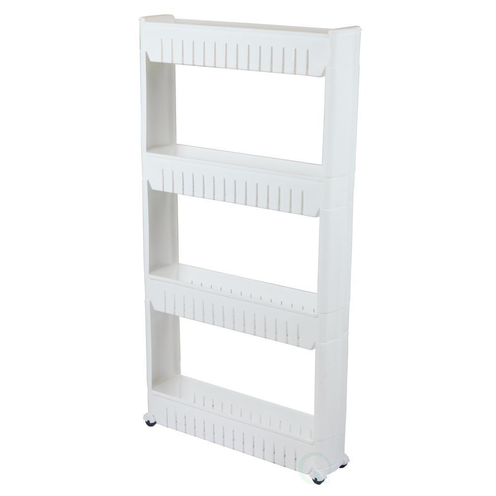 Basicwise 20 in. x 40 in. Plastic Slim Storage Cabinet Organizer